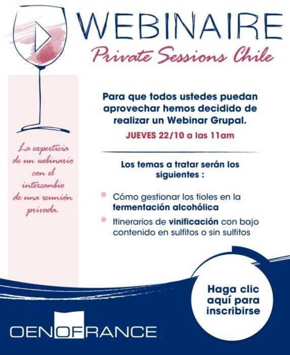 ¡Nuevo! Webinaire Private Sessions Chile Oenofrance
