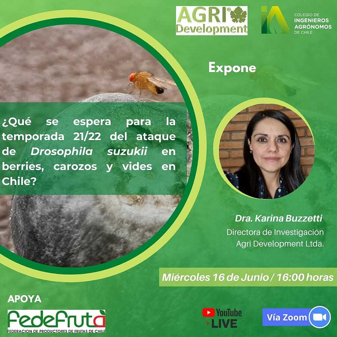 Charla ¿Qué se espera para la temporada 21/22 del ataque de Drosophila suzukii en berries, carozos y vides en Chile